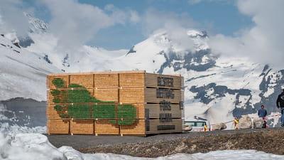 ökologischer Fußabdruck inszeniert als Holzinstallation