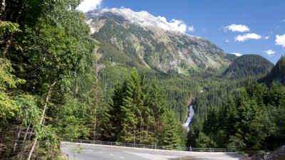 Strassenabschnitt der Gerlos Alpenstrasse