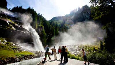 People near the waterfalls